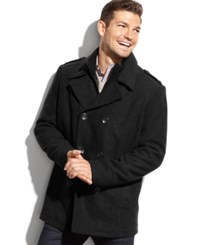 Kenneth Cole Wool Blend Knit Bib Military Pea Coat