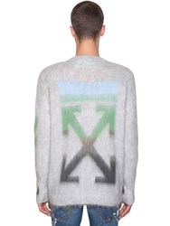 Off White Diag Brushed Mohair Blend Knit Sweater Light Grey