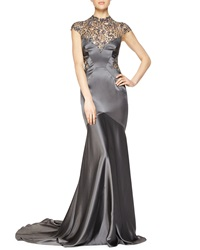 Monique Lhuillier Sheer Back Beaded Satin Gown