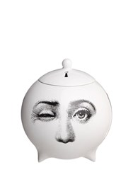 Fornasetti Tre Visi Incense Sphere With Lid White Black