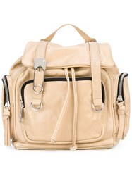 Sonia Rykiel By Double Straps Mini Backpack Women Cotton Leather One Size Nude Neutrals