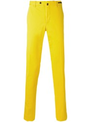 Pt01 Slim Fit Trousers Men Cotton Spandex Elastane 58 Yellow Orange