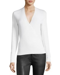 The Row Roanna Cashmere Silk Wrap Front Top White
