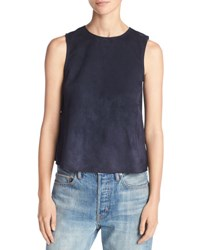 Vince Cropped Lamb Suede Shell Blue