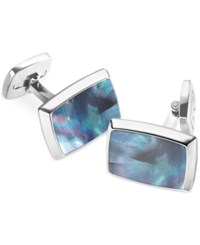 M Clip Mother Of Pearl Rectangle Cufflinks Grey