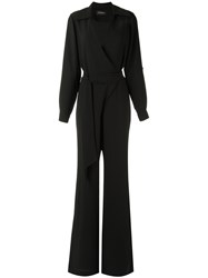 Olympiah Belted Waist Jumpsuit Women Polyester 44 Black