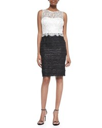 Kay Unger New York Sleeveless Lace Bodice Sheath Dress Black Pearl