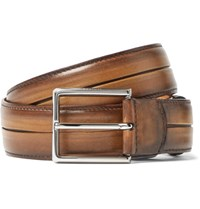 Berluti Brown Polished Venezia Leather Belt Tan