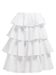 Batsheva Tiered Cotton Midi Skirt White