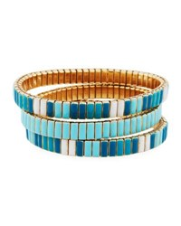 Neiman Marcus Watch Out Stretch Bracelet Turquoise Color