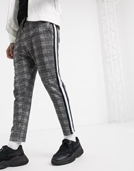 Another Influence Cropped Drawstring Trousers In Check Grey