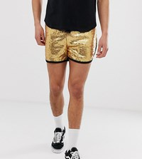 Reclaimed Vintage Festival Sequin Shorts In Gold Green