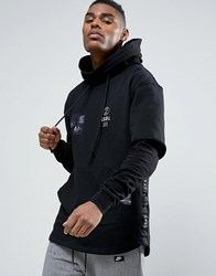 Cayler And Sons Layered Hoodie With Graphic Patches Black Blue