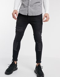 Sik Silk Siksilk Skinny Jeans In Black With Distressing