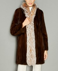 The Fur Vault Fox Trim Mink Coat Demibuff Crystal