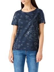 Sugarhill Boutique Map Print Button Back Top Navy