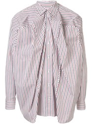 Y Project Ruched Striped Shirt White