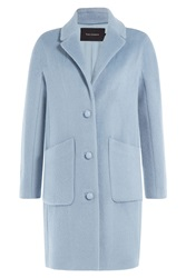 Tara Jarmon Coat With Wool Alpaca And Mohair Blue