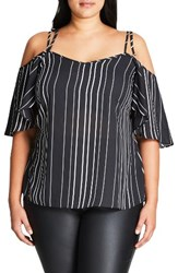 City Chic Plus Size Women's Uneven Stripe Cold Shoulder Top