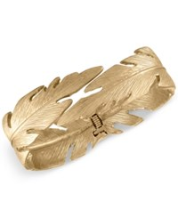 Rachel Roy Gold Tone Feather Hinged Bangle Bracelet