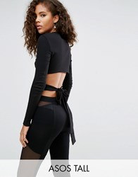 Asos Tall Top With Bow Back Detail Black