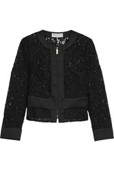 Emilio Pucci Cropped Broderie Anglaise Cotton Blend Jacket Black