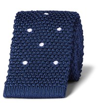 Dunhill 6Cm Polka Dot Knitted Linen And Mulberry Silk Blend Tie Blue