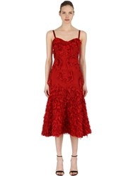 Alexander Mcqueen Fringed Silk Floral Appliques Dress Red