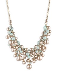 Carolee Turquoise Sands Statement Faux Pearl Beaded Adjustable Frontal Necklace Gold Mutli