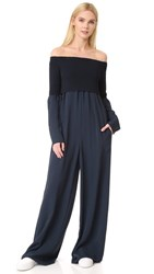 Dkny Long Sleeve Off The Shoulder Jumpsuit Classic Navy Military
