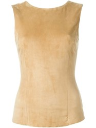 Drome Sleeveless Suede Top Nude And Neutrals