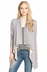 Women's Caslon Double Face Drape Front Cardigan Grey Ivory Colorblock