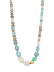 Lena Skadegard Dunna Terra Semi Precious Multi Stone And 18K Yellow Gold Beaded Strand Necklace Blue Multi