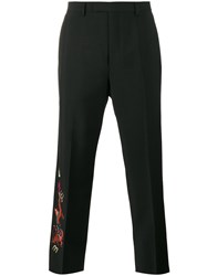 Gucci Dragon Embroidered Trousers Men Rayon Mohair Wool 46 Black