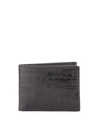 Cole Haan Slim Crocodile Embossed Leather Bi Fold Wallet Black