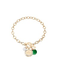 Rebecca Hollywood Stone Yellow Gold Over Bronze Chain Bracelet W Hydrothermal Green Stone And Glass Pearl