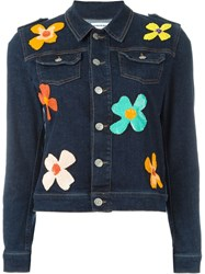 Au Jour Le Jour Floral Sequinned Denim Jacket Blue