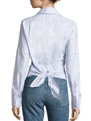 Helmut Lang Cotton Poplin Tie Back Tuxedo Shirt Light Blue