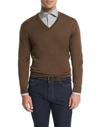 Ermenegildo Zegna High Performance V Neck Sweater Brown
