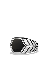 David Yurman Modern Chevron Signet Ring With Black Onyx Silver Black