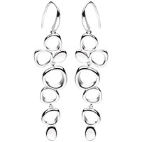 Kit Heath Sterling Silver Abstract Circle Drop Earrings Silver