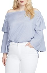 Rachel Roy Plus Size Off The Shoulder Top Medium Wash