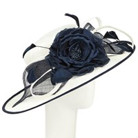 John Lewis Aurora Bow Flower Occasion Hat Cream Navy