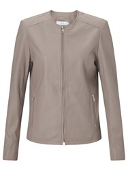 John Lewis Collarless Leather Jacket Mink