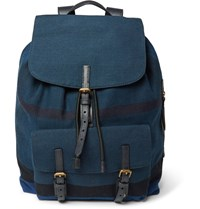 Burberry Leather Trimmed Checked Canvas Backpack Blue