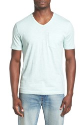 Men's Original Penguin 'Bing' V Neck Slub Pocket T Shirt Soothing Sea