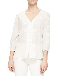 Veronica Beard Embroidered Boho Button Blouse White