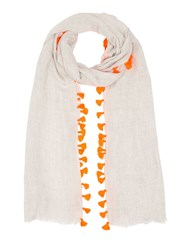 Jigsaw Pom Edge Scarf Orange