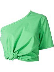 Rosie Assoulin One Shoulder Cropped Top Green