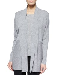 Lafayette 148 New York Shawl Collar Wool Cardigan Light Nickel Women's